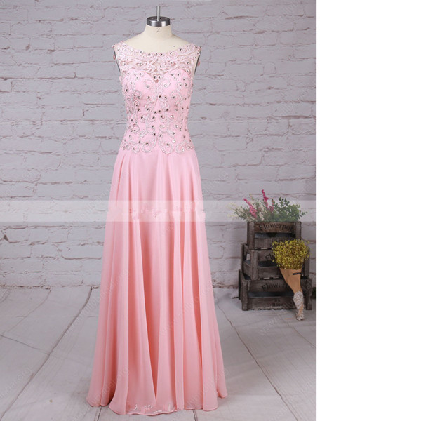 2f15d08294863 Pink A-Line Scoop Neck Tulle Chiffon Sweep Train Appliques Lace Sequins  Open Back Modest