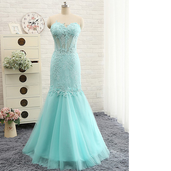 Teal Fashion Sweetheart Tulle Appliques Lace Trumpet/Mermaid Elegant Long Prom Dresses