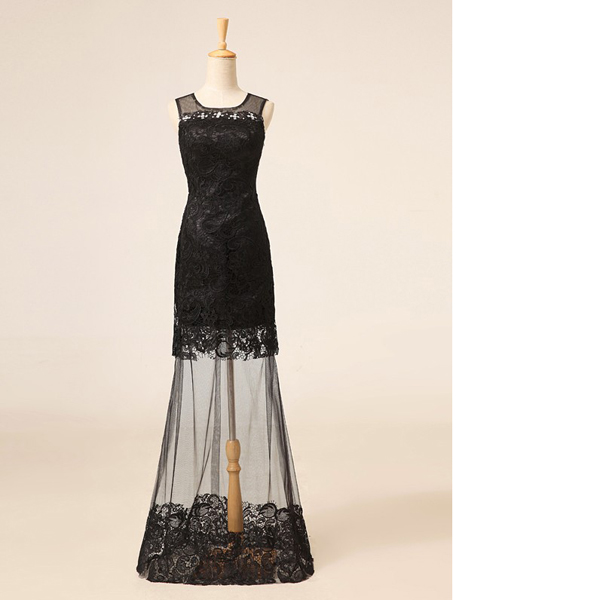 8b65546d704 Black Sheath Column Scoop Neck Lace Tulle Floor-Length Beading Appliques  Lace New Arrival