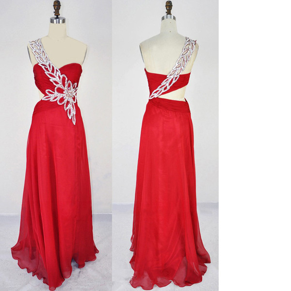 154bcbbb52f5 A-Line One Shoulder Chiffon Sweep Train Crystal Detailing Split Front Open  Back Red Long