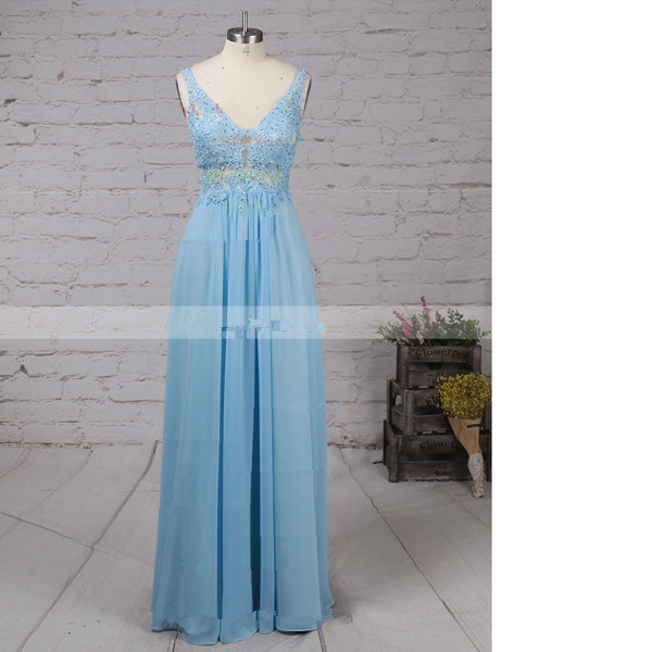 A-Line V-Neck Chiffon Tulle Floor-Length Beading Sweet Flow Blue Long Prom Dresses