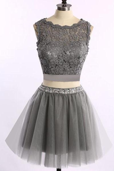Pretty Gray Sleeveless A-line Short Mini Scoop Neck Tulle Lace Beading Two Pieces Homecoming Dresses