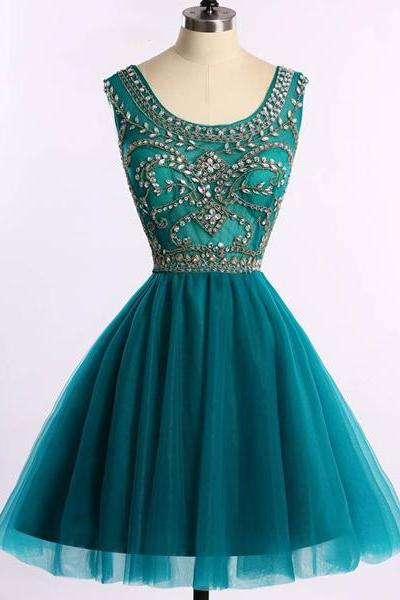 Scoop Neck A-line Sparkly Dark Green Tulle Sleeveless Beading Short Mini Homecoming Dresses