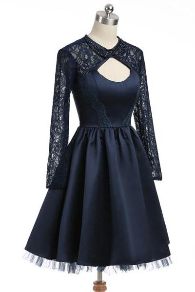 Navy A-line Long Sleeves Open Back Satin Appliques Lace Beaded Sexy Homecoming Dresses