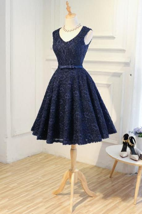 Navy A-Line Short Appliques Lace Lace-Up Scoop Neck Sexy Homecoming Dresses