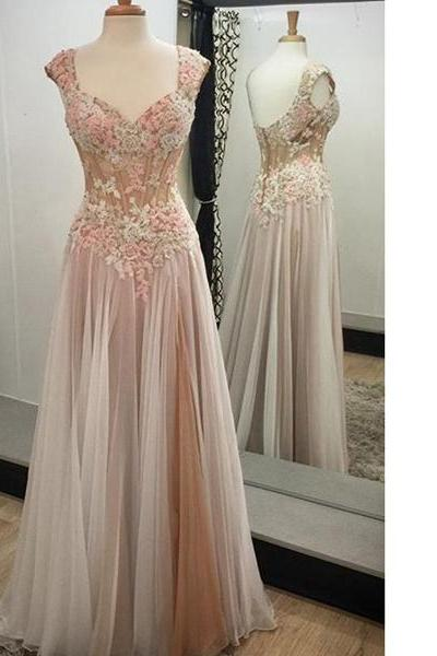 Pink Noble A-Line V-Neck Sleeveless Tulle Appliques Lace Elegant Long Prom Dresses