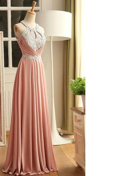 A-Line Scoop Neck Chiffon Floor-Length Crystal Detailing Lace-Up Classic Open Back Long Prom Dresses