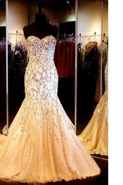Ivory Sweetheart Sweep Train Lace Tulle Beading Crystal Detailing Trumpet/Mermaid Modest Long Prom Dresses