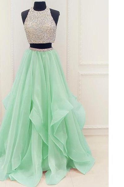 Fabulous Princess Scoop Neck Organza Floor-Length Beading Pearl Detailing Two Piece Long Prom Dresses