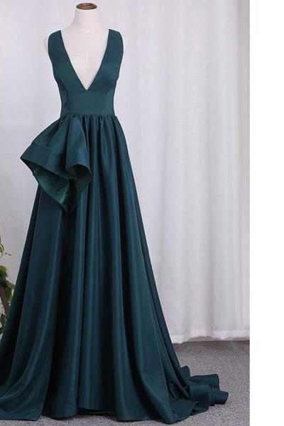 A-Line V-Neck Satin Sweep Train Sleeveless Draped Elegant Long Prom Dresses
