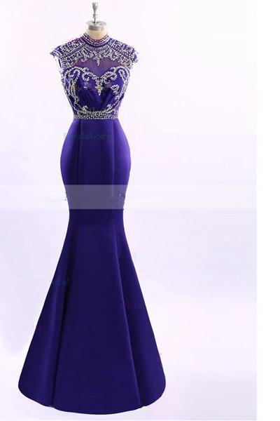 Purple Trumpet/Mermaid Scoop Neck Tulle Elastic Woven Satin Beading Cap Straps Open Back Long Prom Dresses