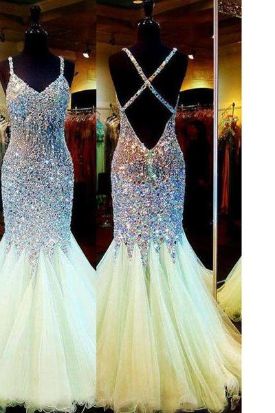 Exclusive V-Neck Backless Floor-Length Tulle Crystal Detailing Trumpet/Mermaid Sparkle&Shine Long Prom Dresses