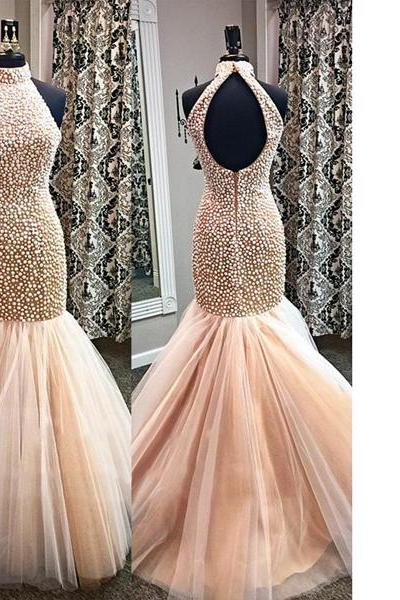 Pink Popular High Neck Open Back Tulle Pearl Detailing Trumpet/Mermaid Elegant Long Prom Dresses