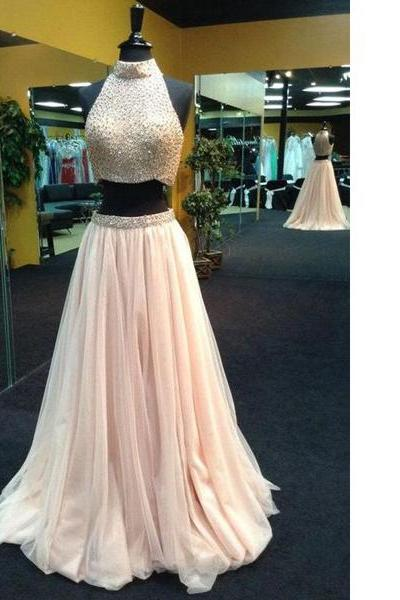 Champagne Affordable A-Line High Neck Tulle Floor-Length Beading Crystal Detailing Two Piece Long Prom Dresses