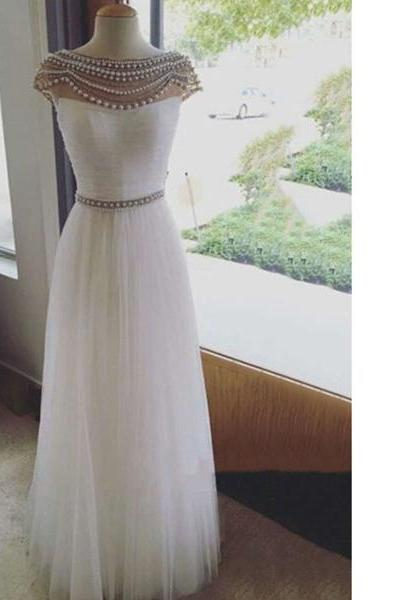 White Online A-Line Scoop Neck Tulle Floor-Length Pearl Detailing Backless Long Prom Dresses