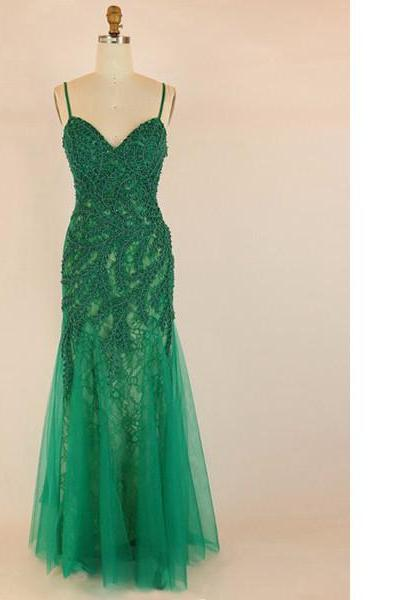 Green Trumpet/Mermaid V-Neck Lace Tulle Floor-Length Lace-Up Appliques Lace Long Prom Dresses