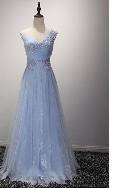 Light Sky Blue Princess Sweetheart Tulle Floor-Length Appliques Lace Sequins Long Prom Dresses