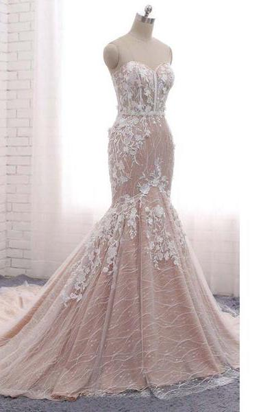 White Trumpet/Mermaid Sweetheart Tulle Sweep Train Appliques Lace Lace-Up Long Prom Dresses