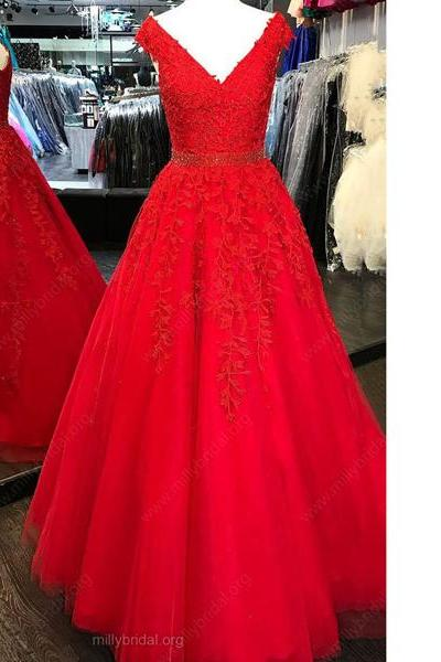 Princess V-Neck Tulle Floor-Length Beading Appliques Lace Pearl Detailing Long Prom Dresses