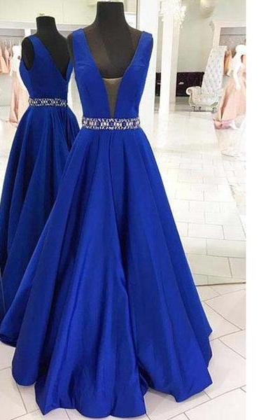 Royal Blue Princess V-Neck Satin Floor-Length Beading Long Prom Dresses