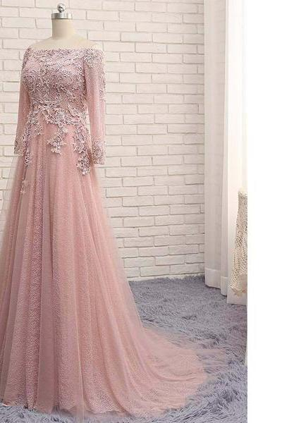 Pink Princess Off-The-Shoulder Lace Tulle Sweep Train Appliques Lace Pearl Detailing Open Back Long Prom Dresses