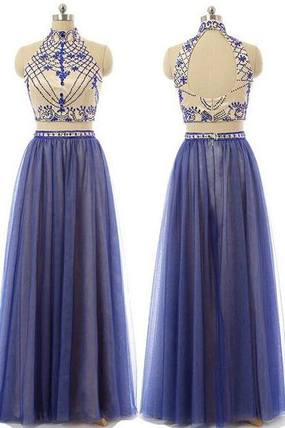 Purple A-Line High Neck Tulle Beading Crystal Detailing Open Back Two Pieces Long Prom Dresses