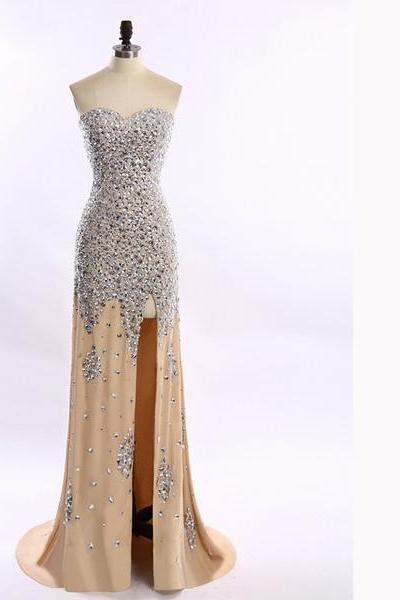 Great Sheath/Column Sweetheart Champagne Chiffon Split Front Crystal Detailing Sparkle Shine Long Prom Dresses
