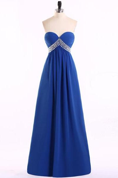 Royal Blue Chiffon Ruched Sweetheart Floor Length Empire Prom Dress Featuring Crystal Embellishment