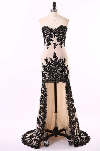 Lace Appliques Chiffon Sweetheart High Low Prom Dress Featuring Sweep Train