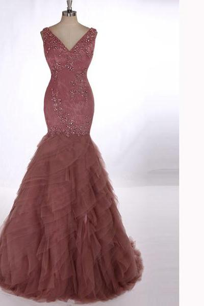 Beaded Embellished Plunge V Sleeveless Floor Length Tulle Mermaid Prom Dress