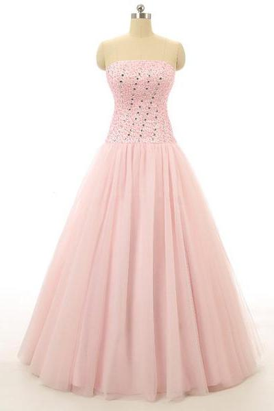 Ball Gown Pink Tulle Beading Strapless Sequins Designer Sweet Flow Long Prom Dresses