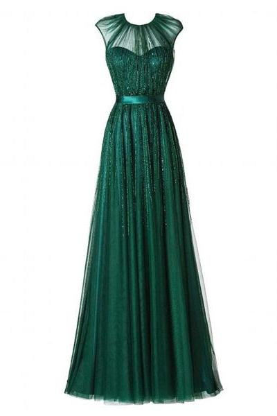 A-Line Scoop Neck Tulle Floor-Length Beading Cap Straps Beautiful Green Long Prom Dresses