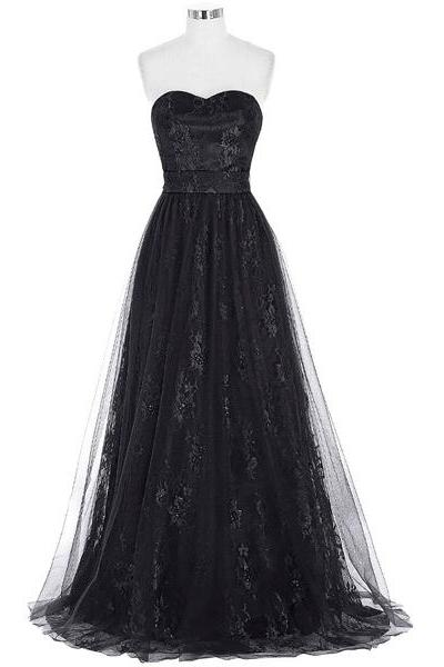 A-Line Sweetheart Lace Tulle Floor-Length Ruffles Black Inexpensive Elegant Long Prom Dresses