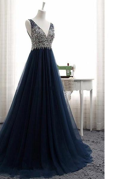 Princess V-Neck Tulle Sweep Train Crystal Detailing Open Back Dark Navy Long Prom Dresses