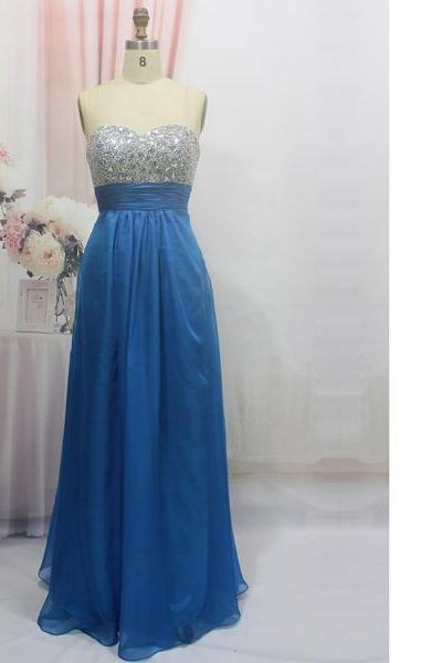 Empire Sweetheart Chiffon Floor-Length Crystal Detailing Turquoise Open Back Long Prom Dresses