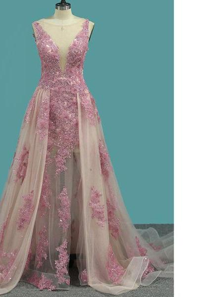 Princess Scoop Neck Tulle Sweep Train Appliques Lace Pearl Detailing Pink Long Prom Dresses