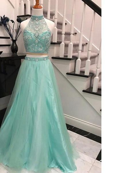Princess Halter Tulle Sweep Train Beading Sequins Two-Pieces Light Green Long Prom Dresses