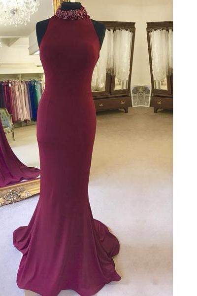 Trumpet/Mermaid High Neck Jersey Sweep Train Beading Sequins Elegant Long Prom Dresses