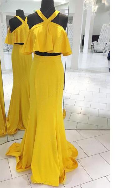 Sheath/Column Scoop Neck Chiffon Floor-Length Ruffles Two-Pieces Yellow Long Prom Dresses