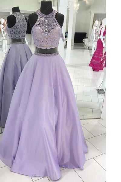 Ball Gown Scoop Neck Lace Satin Floor-Length Beading Lavender Elegant Long Prom Dresses