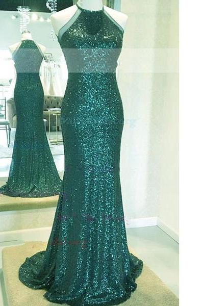 Sheath/Column Scoop Neck Sequined Sweep Train Sparkle Shine Emerald Long Prom Dresses