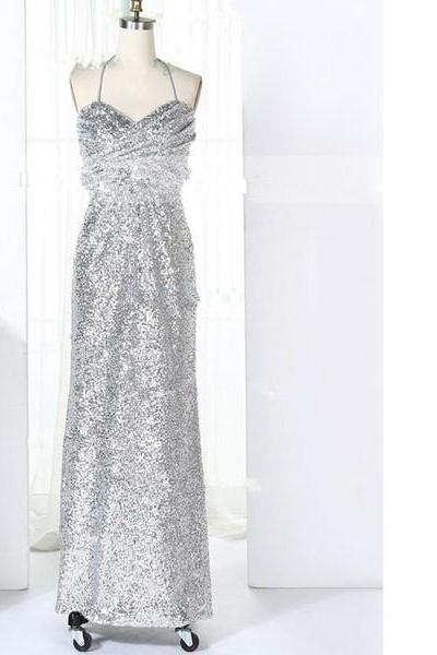 Empire Halter Sequined Floor-Length Ruffles Sparkle Shine Silver Long Prom Dresses