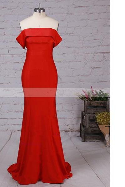 Sheath/Column Off-The-Shoulder Jersey Sweep Train Red Elegant Long Prom Dresses