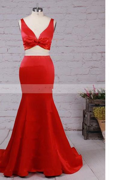 Trumpet/Mermaid V-Neck Satin Sweep Train Ruffles Two-Pieces Red Long Prom Dresses