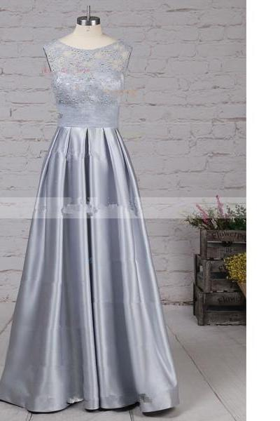 Princess Scoop Neck Lace Satin Floor-Length Pockets Sequins Silver Long Prom Dresses