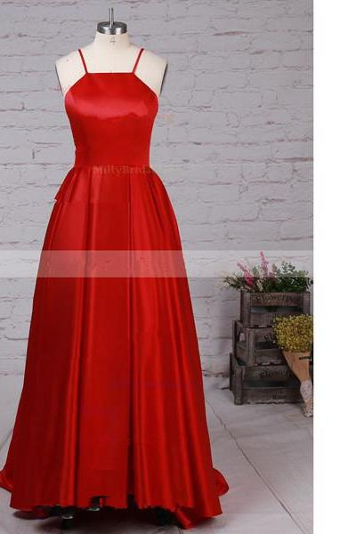 Ball Gown Scoop Neck Satin Asymmetrical High Low Red Long Prom Dresses