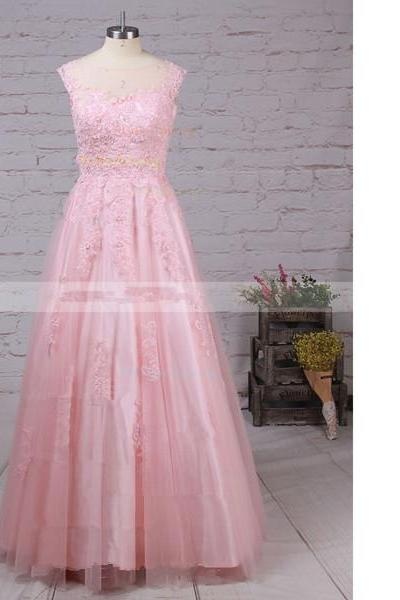 Princess Scoop Neck Tulle Floor-Length Appliques Lace Sweet Flow Pink Long Prom Dresses
