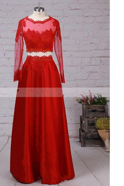 A-Line Scoop Neck Satin Tulle Floor-Length Appliques Lace Two-Pieces Red Lone Prom Dresses
