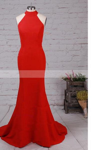 Trumpet/Mermaid Halter Elastic Woven Satin Sweep Train Open Back Red Long Prom Dresses