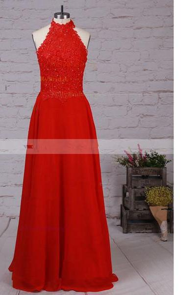 A-Line High Neck Lace Chiffon Floor-Length Beading Open Back Red Long Prom Dresses